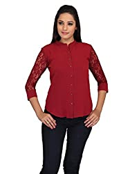 lol maroon Color Plain Casual Top for women