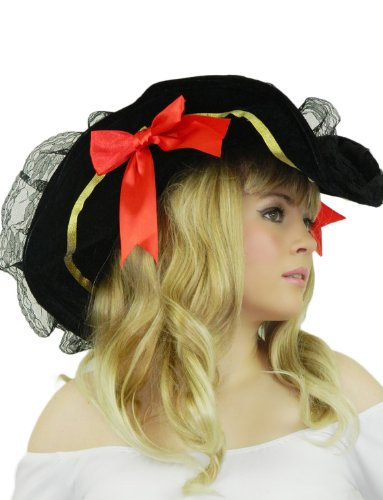Yummy Bee Pirate Hat Adult Black Velvet Red Satin Bows Cosplay Costume