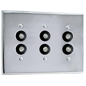Solid Brass Triple Push Button Plate - Oil Rubbed Bronze - Childrens