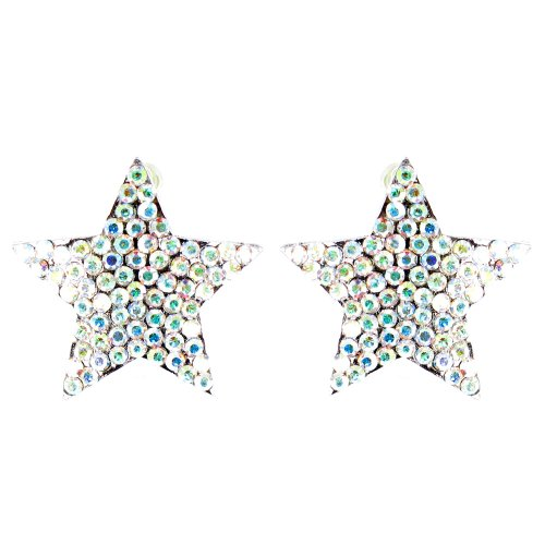 Clear Crystal On Silver Plated Sparkly Star Shaped Earrings front-719795