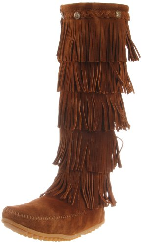 Minnetonka Women's 1658 Layer Fringe Boot,Dusty Brown,9 M US