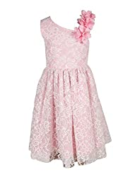 Chicabelle Girls' Dress (CH-27_White Pink_7-8 Years)