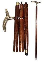 INDOART Walking Stick (CANE) crocodile Head , 4PCS Folding , 36