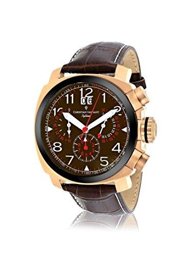 Christian Van Sant Men's CV3AU4 Grand Python Brown Leather Strap Watch