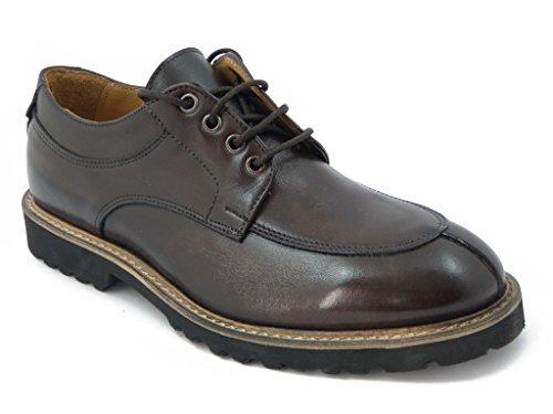 Exton scarpa uomo in pelle colore marrone, Derby stile norvegese con suola in gomma Extralight, leggera e antiscivolo, 9054-i16
