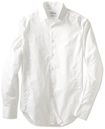 Calvin Klein Men's Body Slim Fit Dress Shirt, White, 15/32-33