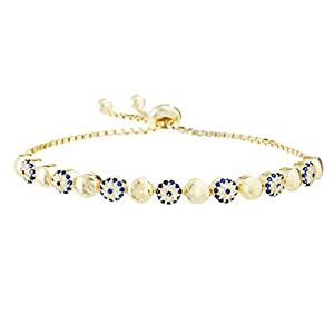 Silver or Gold Sterling Silver Cubic Zirconia Evil Eye Adjustable Slider Bracelet (Gold)
