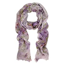 Premium Soft Viscose Flower Print Scarf, Lavender