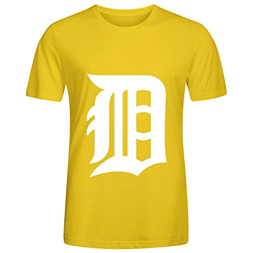 MLB Detroit Tigers Team Logo Crew Neck Men T Shirts Graphic Yellow (Goblin Outfit)