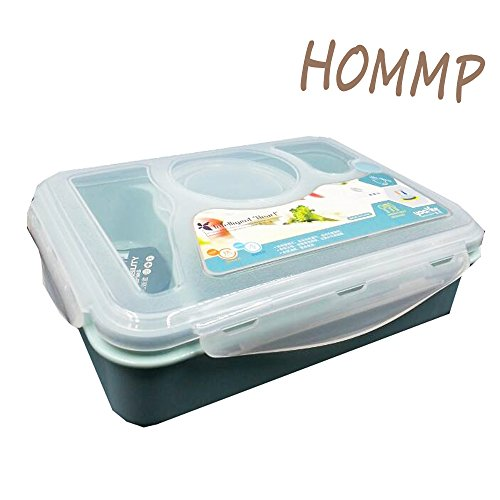 HOMMP 4-compartment Microwavable Lunch/ Bento Box (blue) - 1