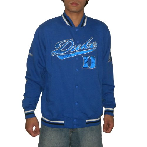 NCAA Duke Blue Devils Mens Athletic Warm Snap-Button Down Colllegiate Jacket / Sweatshirt with Embroidered Logo (Size: XL)