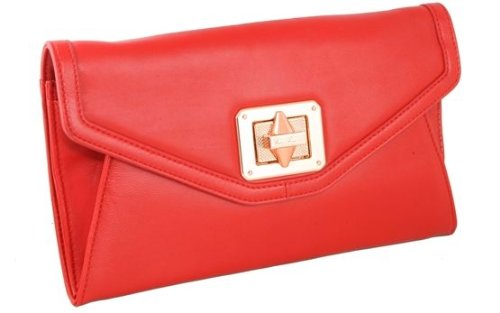No5 on the Bund, Red Leather Clutch by Emm Kuo