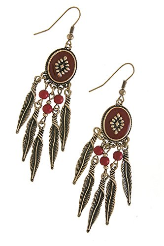 Contempo Couture Antique Feather Fringe Earrings (Antique Gold/Red) front-223167