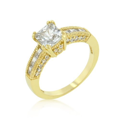 14k Yellow Gold Bonded Princess Cut Engagement Anniversary Promise Ring (5)