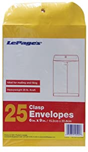 LePage's Clasp Envelopes, 6 Inch x 9 Inch, 25 pack (GLD11504)