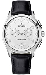 Edox Men's 10101 3 AIN WRC Chronograph Stainless Steel White Dial Black Genuine Leather Date Watch