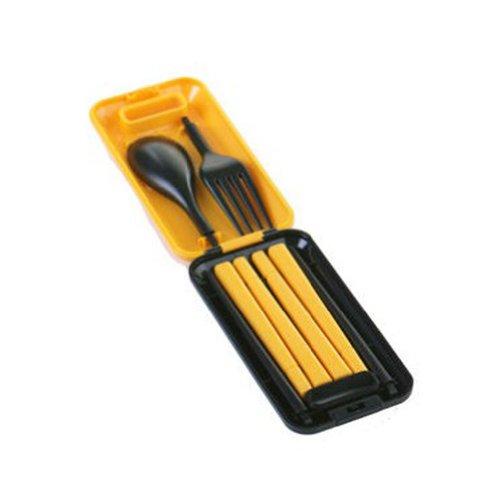 Portable Vaisselle en plastique Cuillère et fourchette et baguettes (Jaune et Noir)