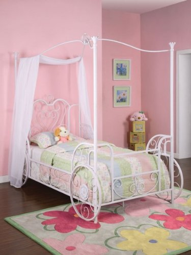 Buy Cheap Twin Size Emily Canopy Bed w Frame Carriage