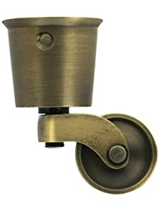 Solid Brass Round Cup Caster With Brass Wheel In Antique-By-Hand Finish. Brass Furniture Wheels.