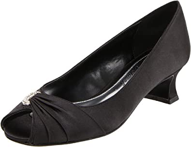 Easy Street Women's Lunar II Open-Toe Pump,Black Satin,5.5 M US