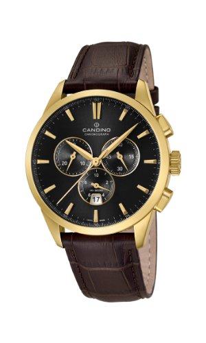 Candino C4518/4 - Reloj cronógrafo de cuarzo para hombre, correa de cuero color marrón (cronómetro)