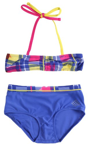 Big Chill Big Girls UV Protection Two Piece Plaid Bikini Set Swimwear - Blue (Size 7/8)