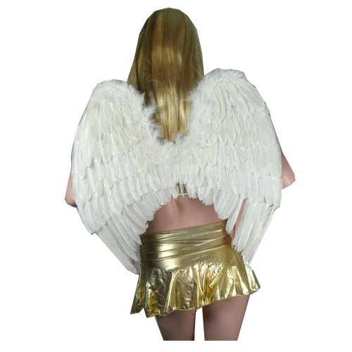 Sacas Large White Feather Angel Wings w/ Free Halo for Adults, Women, and Men