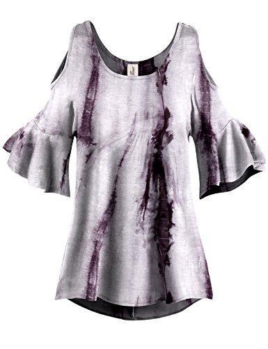 White Lined Pleated End Tie Dye Cold Shoulder Tunic Tops