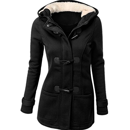 Susanny Womens Winter Fashion Outdoor Warm Wool Blended Classic Pea Coat Jacket Black (Ladies Winter Coats With Hoods compare prices)