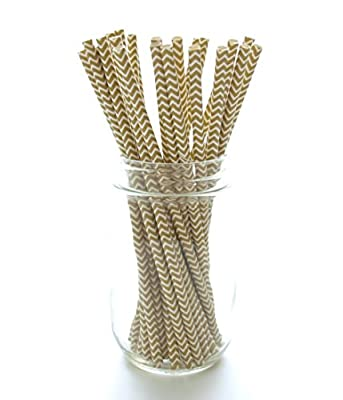 Gold Chevron Zig Zag Straws (25 Pack) - Designer Paper Straws, Golden Anniversary Party Supplies, Formal Wedding Favors