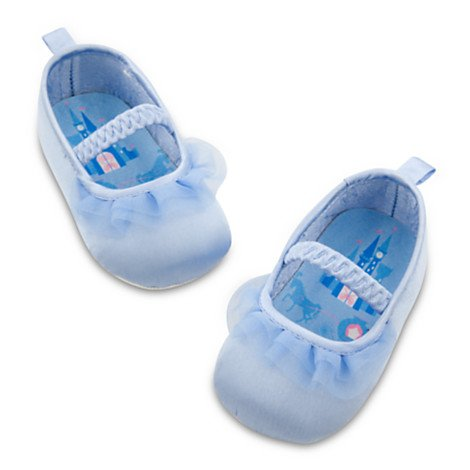 Authentic DISNEY STORE - Baby Girl CINDERELLA SHOES/12 -18 Months SATIN Shoes with TULLE Ruffle - Elastic Strap & NON-SKID Soles/DISNEY PRINCESS/Costume/Matches CINDERELLA'S Blue GOWN