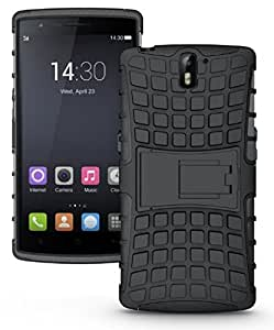 ECellStreet Hybrid Case With Stand Side Soft Back Hard Back Cover For OnePlus One 1+1 - Black