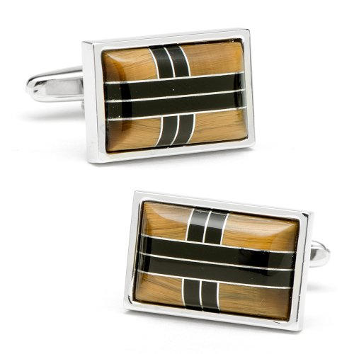 Ox And Bull Mens Plated Onyx & Tigers Eye Cross Roads Cufflinks