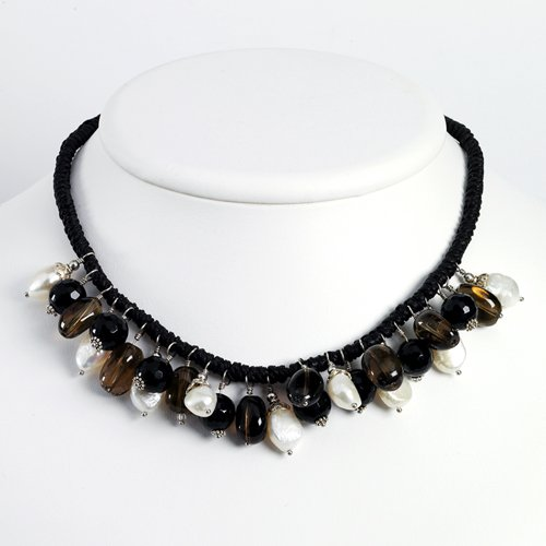 Sterling Silver Smokey Quartz/Black Bead & Cultured Pearl Necklace