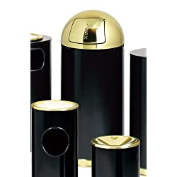Round Top Shiny Waste Receptacle (Crimson w Brass)