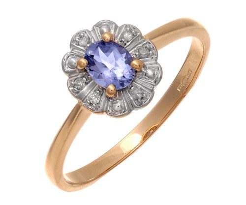 9ct Yellow Gold Tanzanite and Diamond Flower Cluster Ring - Size J
