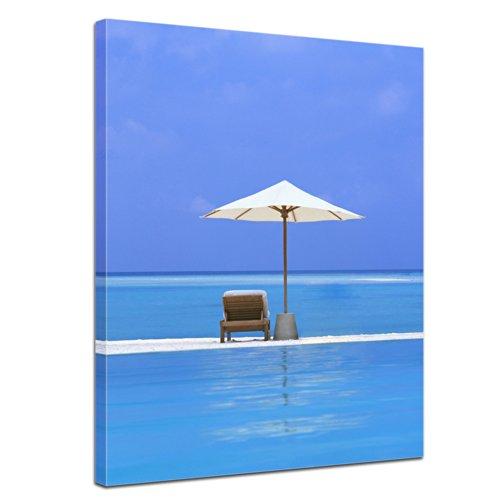 """Bilderdepot24 Leinwandbild """"einsame Insel im Indischen Ozean"""" - 50x70 cm 1 teilig - fertig gerahmt, direkt vom Hersteller"""