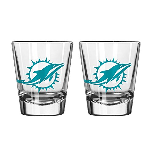 NFL Miami Dolphins Game Day Shot Glass, 2-ounce, 2-Pack