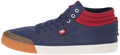 DC Men's Evan Smith HI Skate Shoe, Navy/Red, 10.5 M US