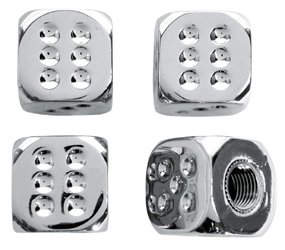Chrome Dice Valve Caps (Set of 4)