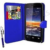 Case In Your Face® Vodafone Smart 4 Mini Premium PU Leather Flip Case Cover Pouch - Various Colours (Blue)