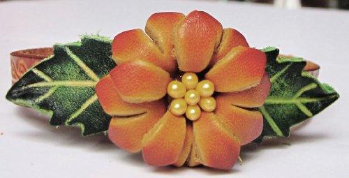 Flower Orange/Brown On Orange-Brown Band All Hand Worked Leather Bracelet - Adjustable Size