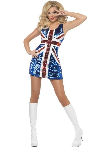 SEQUIN UNION JACK DRESS UK SIZE 12-14 IDEAL ROYAL WEDDING OR FANCY DRESS COSTUME