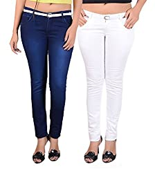 Goodgift White & Blue Cotton Lycra Jeans