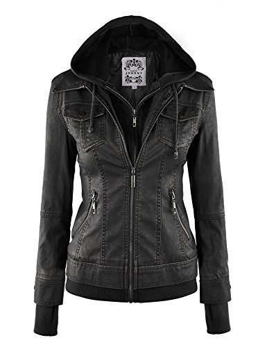 MBJ Womens 2-For-One Hooded Faux leather Jacket XXL BLACK