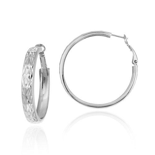 Sterling Silver Diamond-Cut 4x40 Clutchless Hoop Earrings