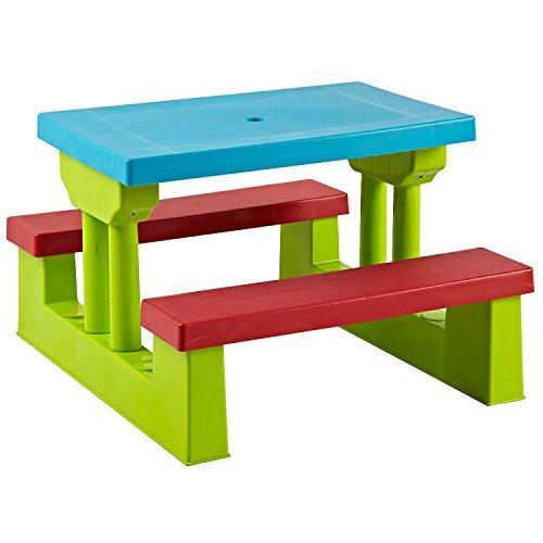 Parkland-Bunter-Kinder-Picknicktisch-mit-integrierten-Bnken