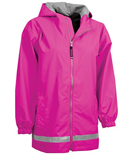 Charles River Apparel Youth New Englander Rain Jacket, Large, Hot Pink Reflective