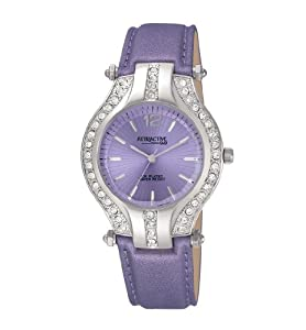 Q and Q Attractive ION-PLATED women silver Case with rhinestones purple leather Band