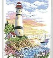 灯台と夕焼け クロスステッチ刺しゅうキット14カウント 22×32cm